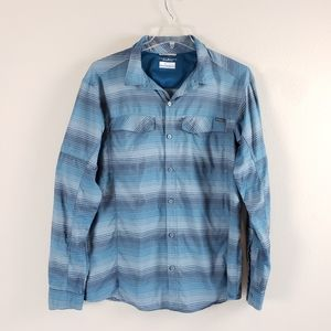 Columbia | Mens Blue Omni Shade Long Sleeve Button